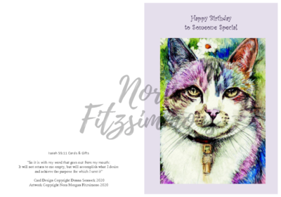Happy Birthday - Rainbow Cat - Faith Card