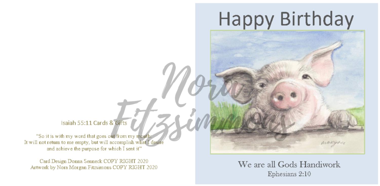 Happy Birthday - Pig - Faith Card