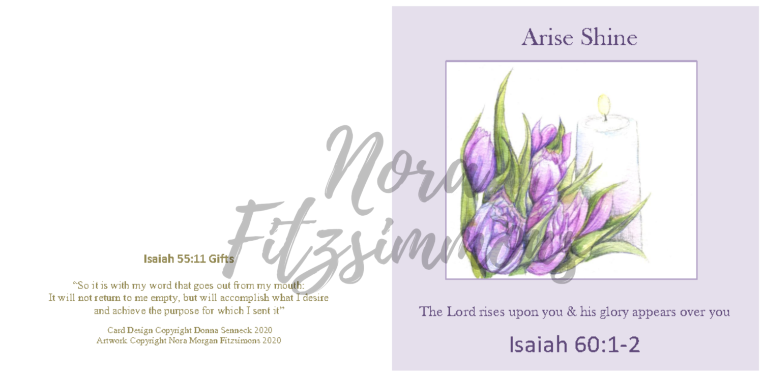 The Lord Rises Upon You Lilac - Faith Card
