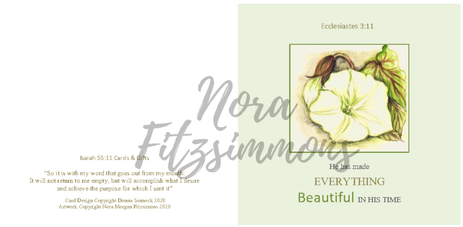 Beautiful In His Time White Flower - Faith Card