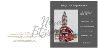 Find Joy In The Journey Red Bus London Clock - Faith Card