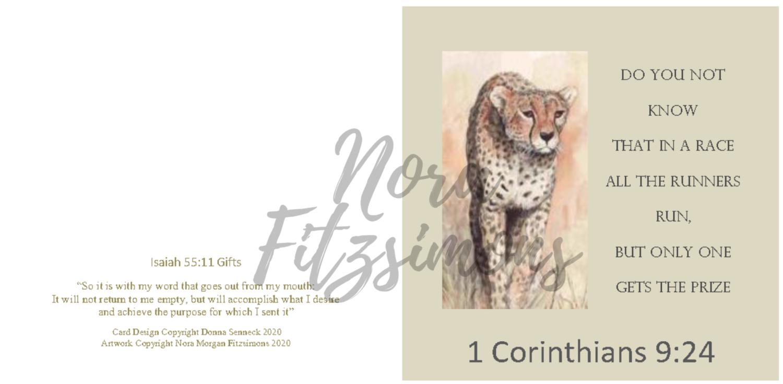 Run The Race Well Cheetah - Faith Card