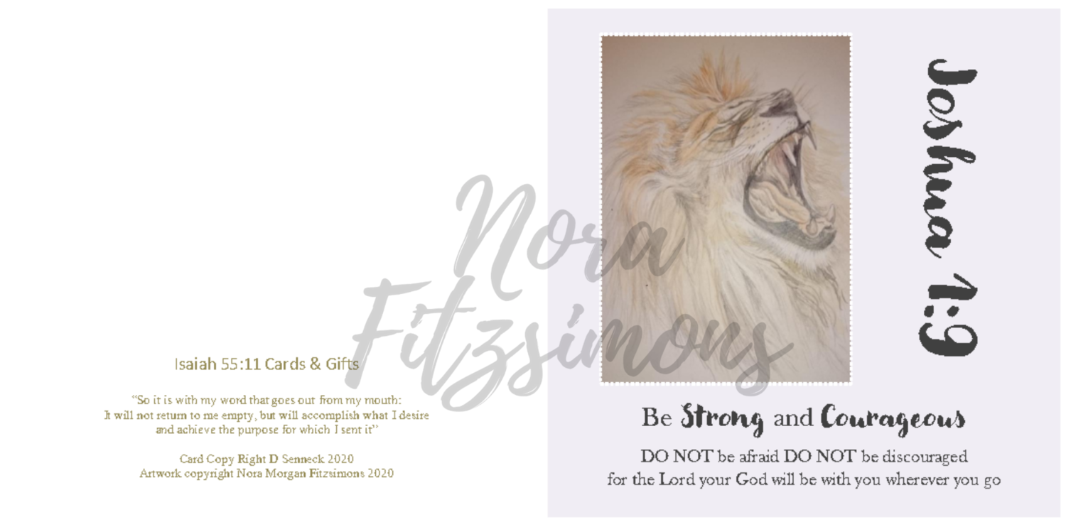 Strong And Courageous Roaring Lion - Faith Card