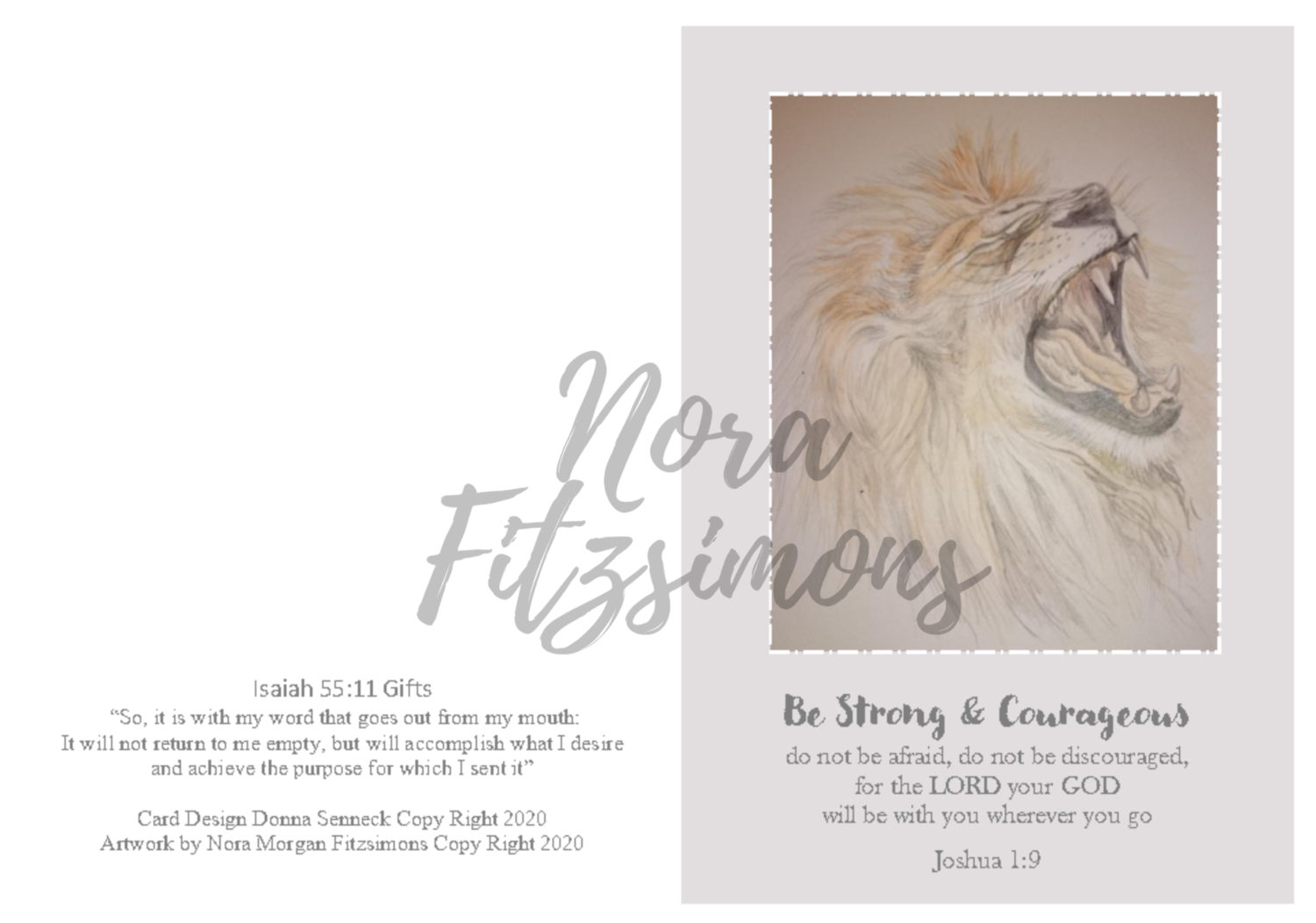 Be Strong And Courageous Lion - Faith Card