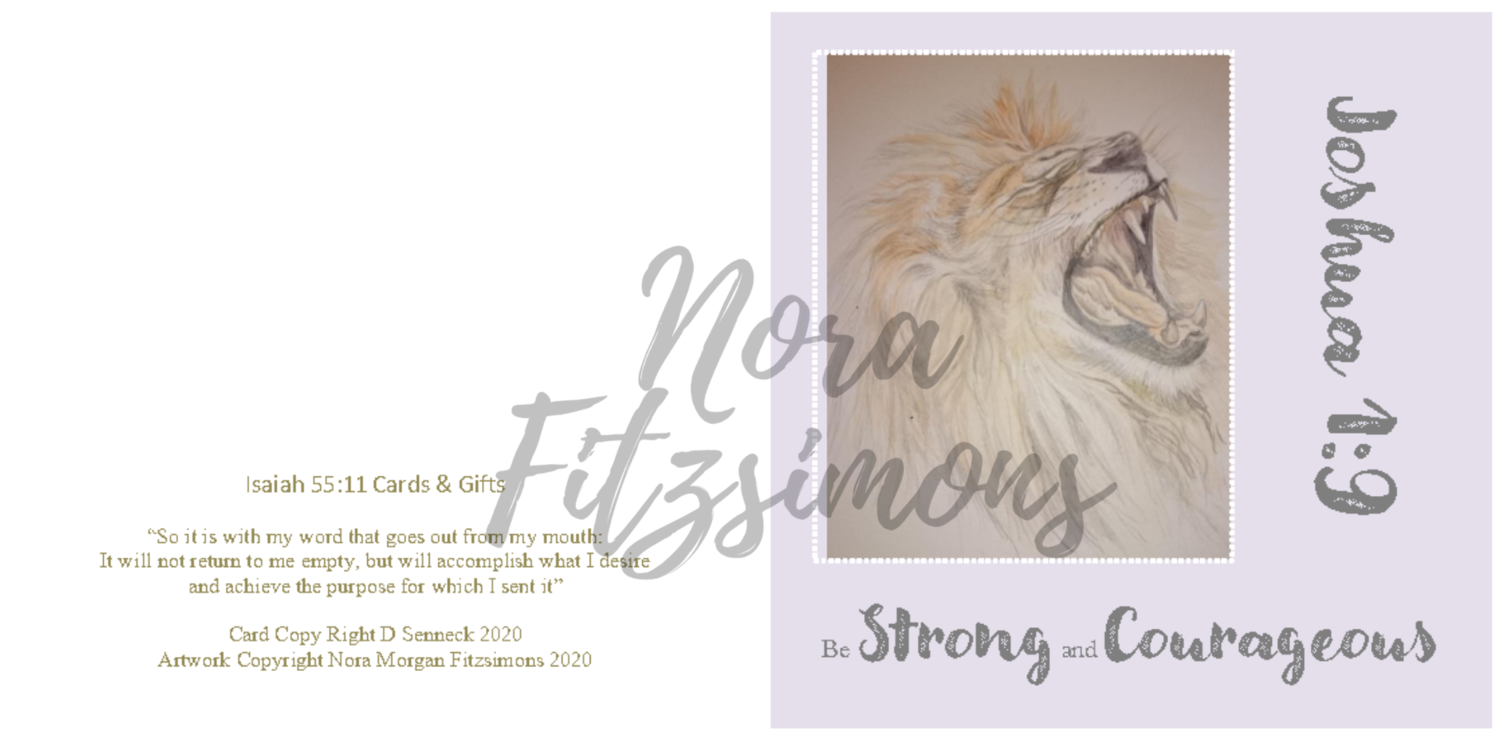 Be Strong And Courageous Lion 3 - Faith Card