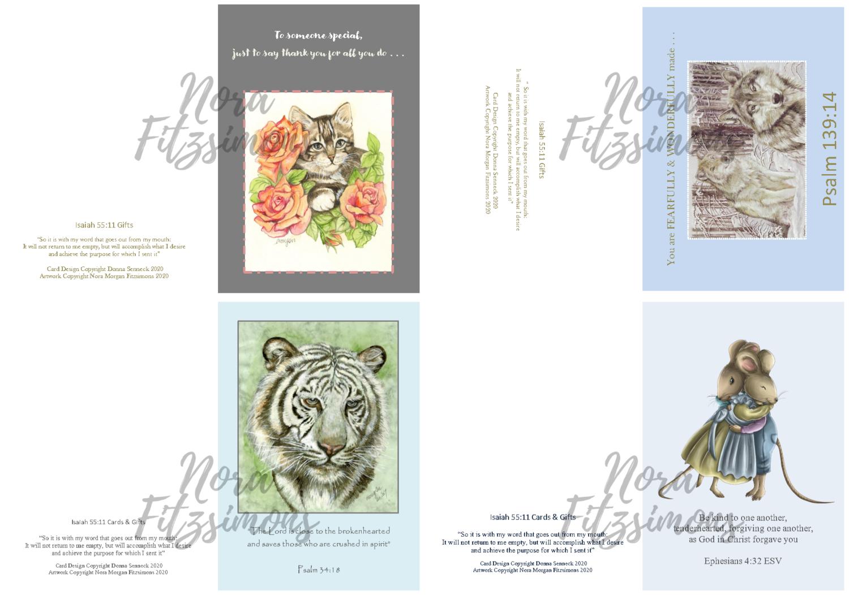 Random Animals Faith Cards 3 - 4 pcs Bundle