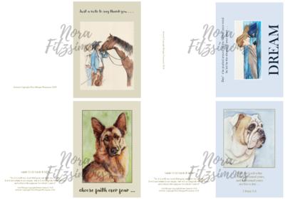 Random Animals Faith Cards 2 - 4 pcs Bundle
