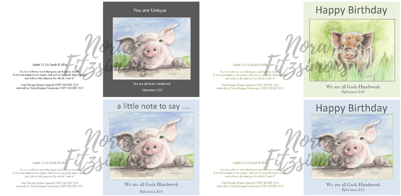 Cute Little Pig Faith Cards - 4 pcs Bundle