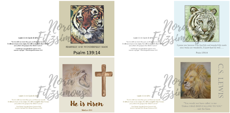 Tigers And Lions Faith Cards  - 4 pcs Bundle