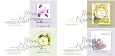 Flowers Faith Cards - 4 pcs Bundle