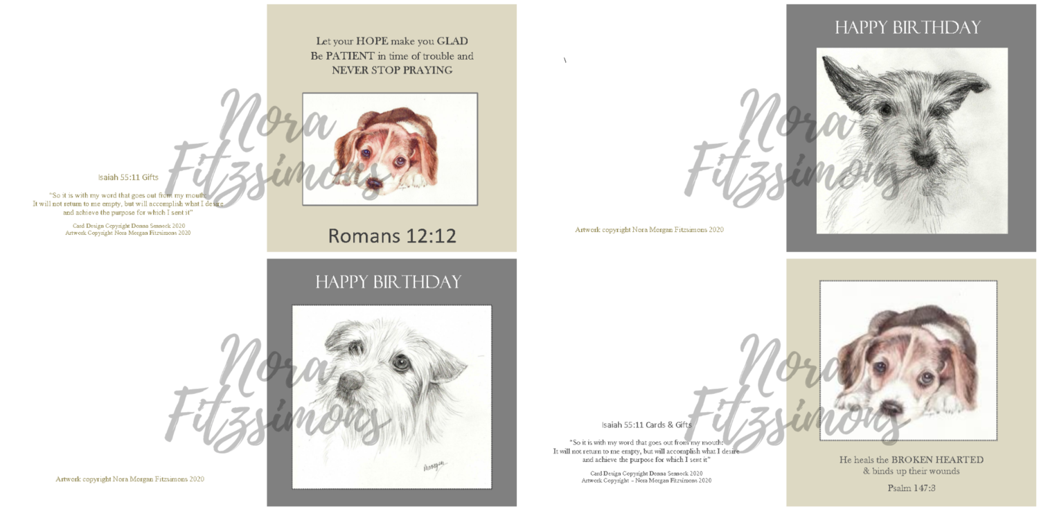 Cute Dogs Faith Cards - 4 pcs Bundle