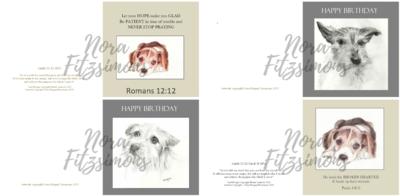 Cute Dogs Faith Cards - 4 pcs Bundle