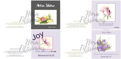 Arise and Shine Flowers Faith Cards - 4 pcs Bundle