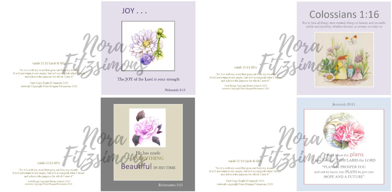 God's Plan Flowers Faith Cards - 4 pcs Bundle