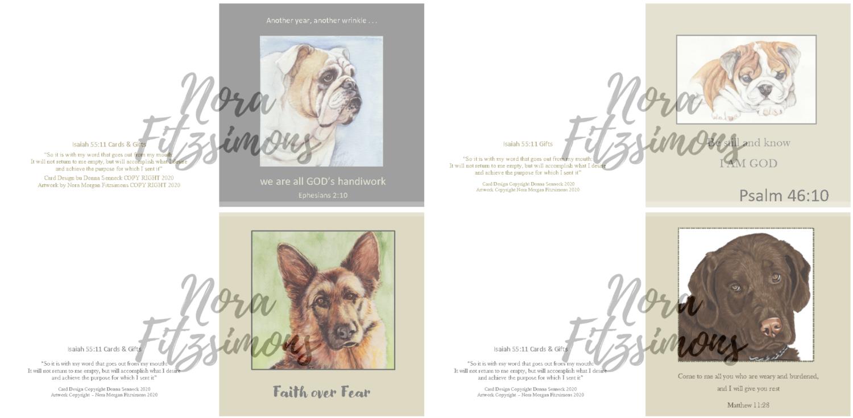 Cute Dogs Faith Cards 2 - 4 pcs Bundle