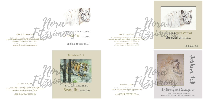 Strong Tigers And Lion Faith Cards - 4 pcs Bundle
