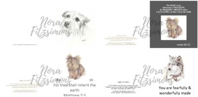 Cute Dog Faith Cards 3 - 4 pcs Bundle