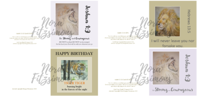 Roaring Lions And Tiger Faith Cards - 4 pcs Bundle