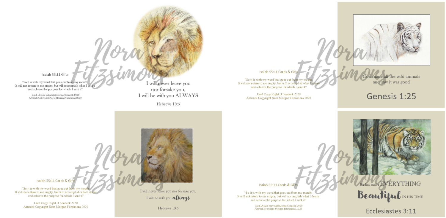 God's Lion Faith Cards - 4 pcs Bundle