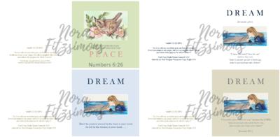 Dream And Peace Faith Cards - 4 pcs Bundle