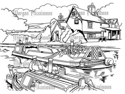 Canal Side 4 - Digital Stamp