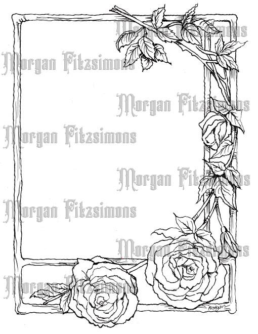 Old Roses Frame - Digital Stamp