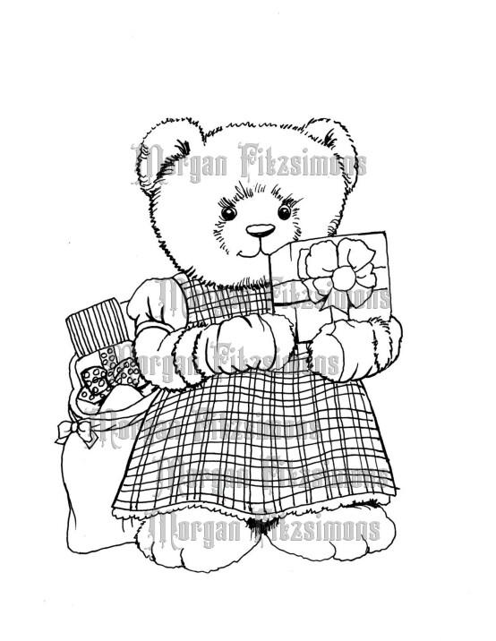 Christmas Present Teddy - Digital Stamp