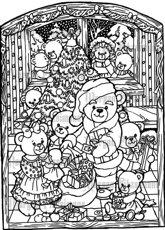 Teddy Bear Christmas Scene - Digital Stamp