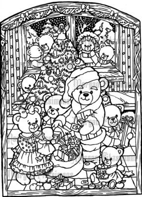 Teddy Bear Christmas Scene - Digital Stamp