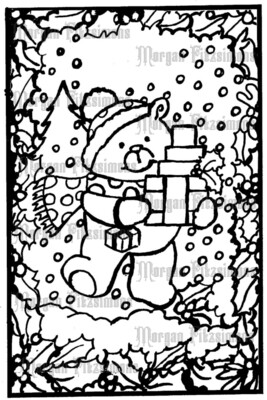 Christmas Teddy Gift - Digital Stamp