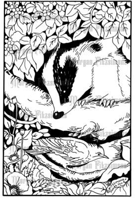 Badger And Bird - Digital Stamp