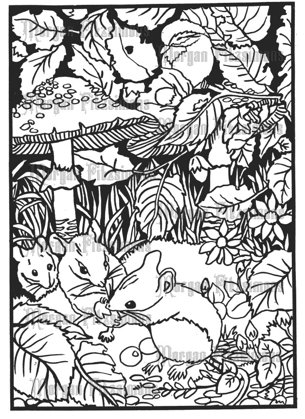 Mice And Mushrooms - Digital Stamp
