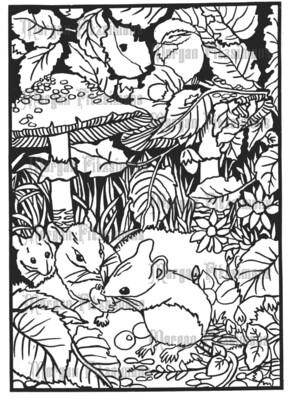 Mice And Mushrooms - Digital Stamp