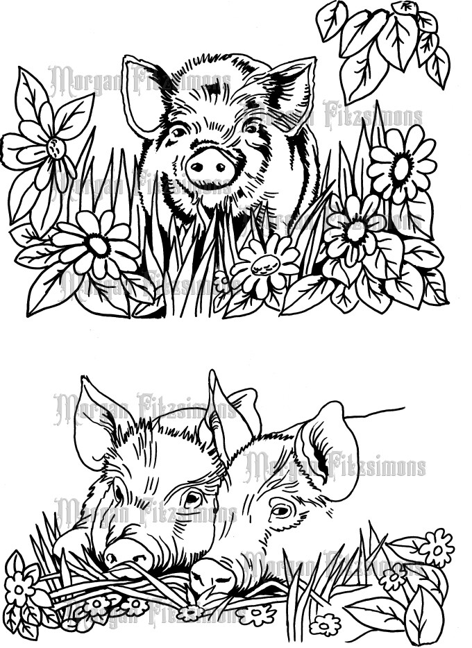Pigs 2 - Digital Stamp