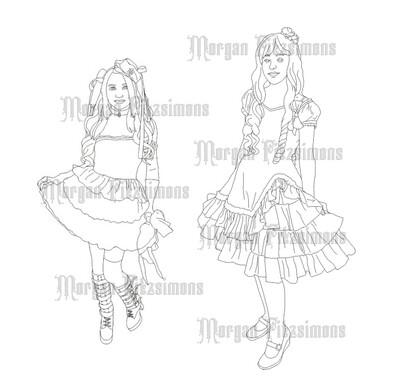 Halloween Girls - Digital Stamp