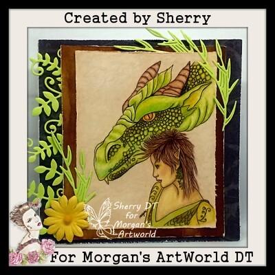 Fantasy Fae and Dragon 1 - Digital Stamp