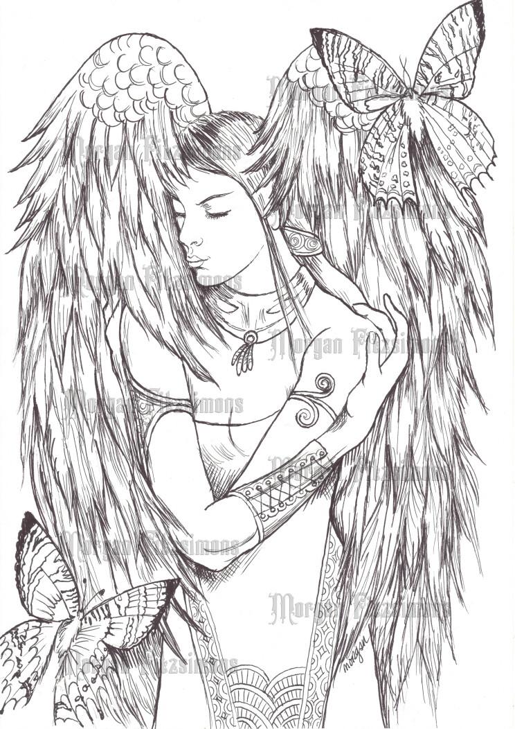 Angel Twilight And Sunset Moths - Digital Stamp