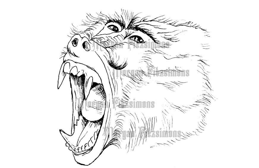 Baboon Scream - Digital Stamp