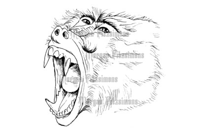 Baboon Scream - Digital Stamp