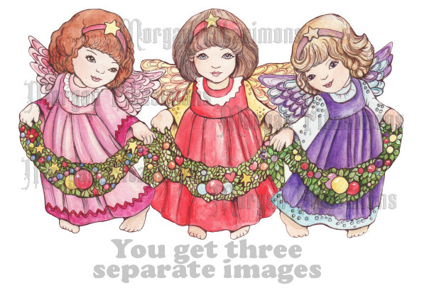Christmas Angels Pre-Coloured - Digital Stamps