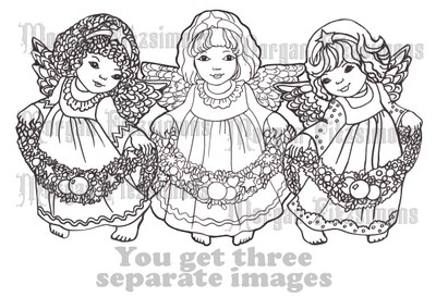 Christmas Angels Bundle - Digital Stamp