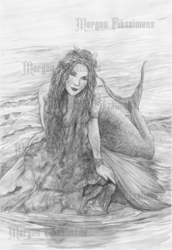 Magical Mermaid Greyscale - Digital Stamp