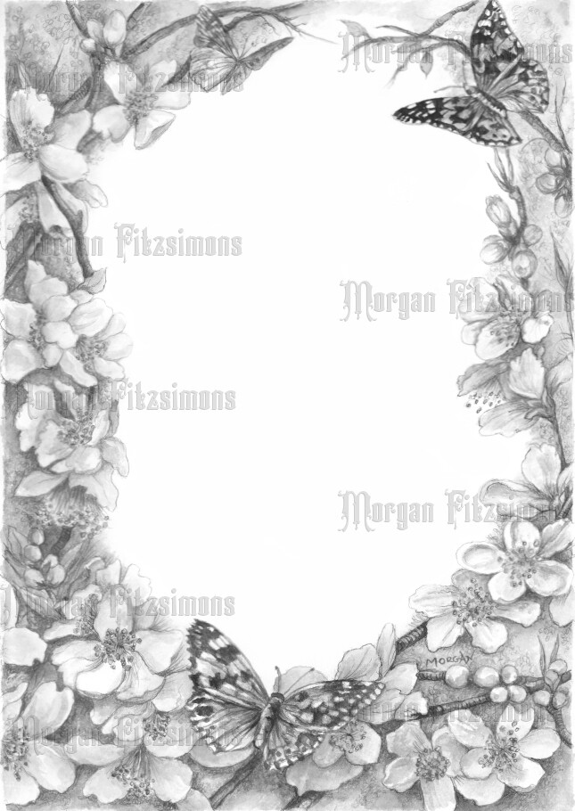 Flower Butterfly Border Greyscale - Digital Stamp