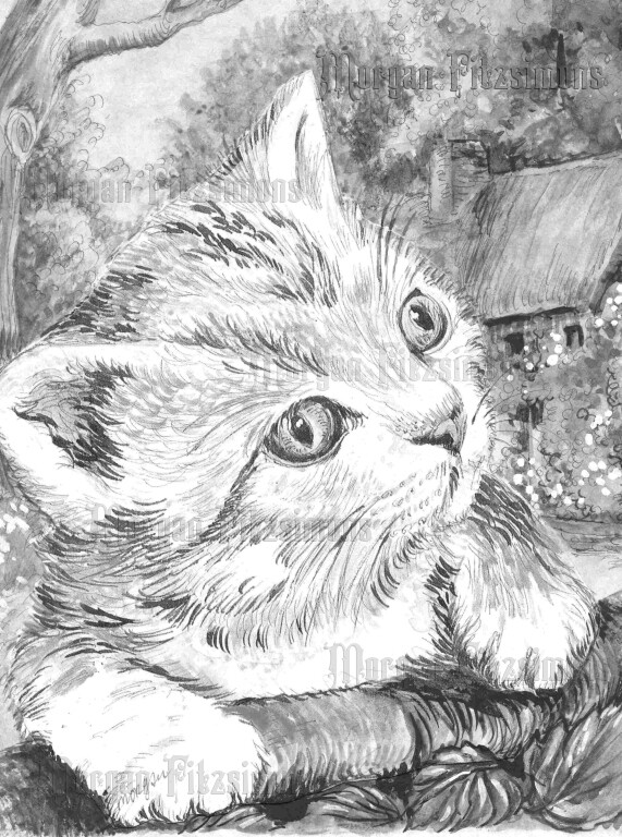 Kitten 2 Greyscale - Digital Stamp