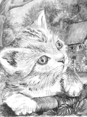 Kitten 2 Greyscale - Digital Stamp
