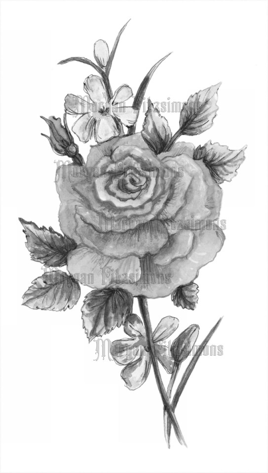 Flower 4 Greyscale - Digital Stamp