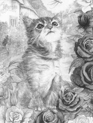 Kitten 1 Greyscale - Digital Stamp