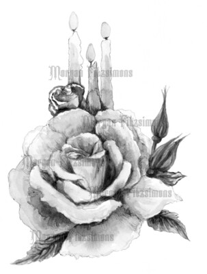 Rose Candle Greyscale - Digital Stamp