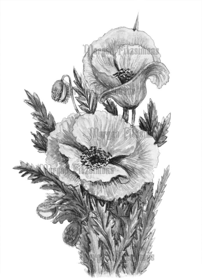 Flower 3 Greyscale - Digital Stamp