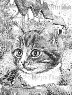 Kitten 3 Greyscale - Digital Stamp